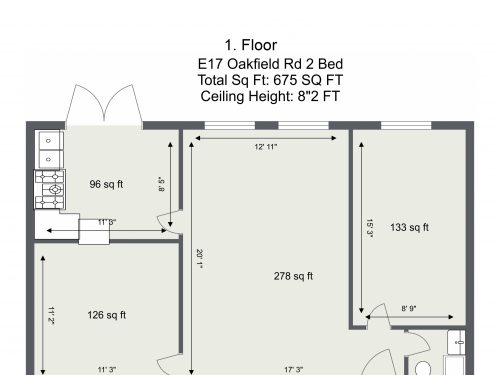 E17 Oakfield Rd 2 Bed – 1. Floor – Floor Plan
